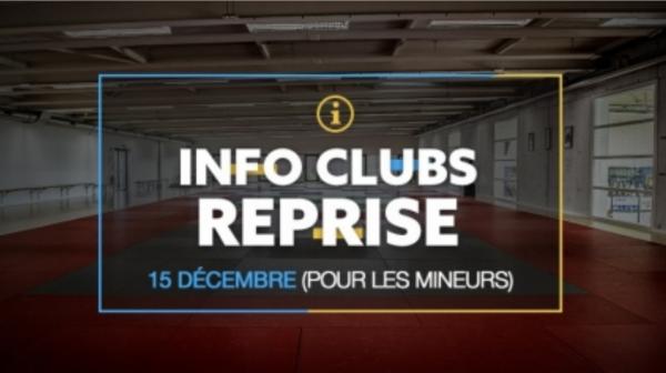 INFO CLUB : REPRISE DES ACTIVITES -18 ANS